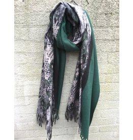 Overige Ultra zachte groen/zwarte sjaal in dierenprint