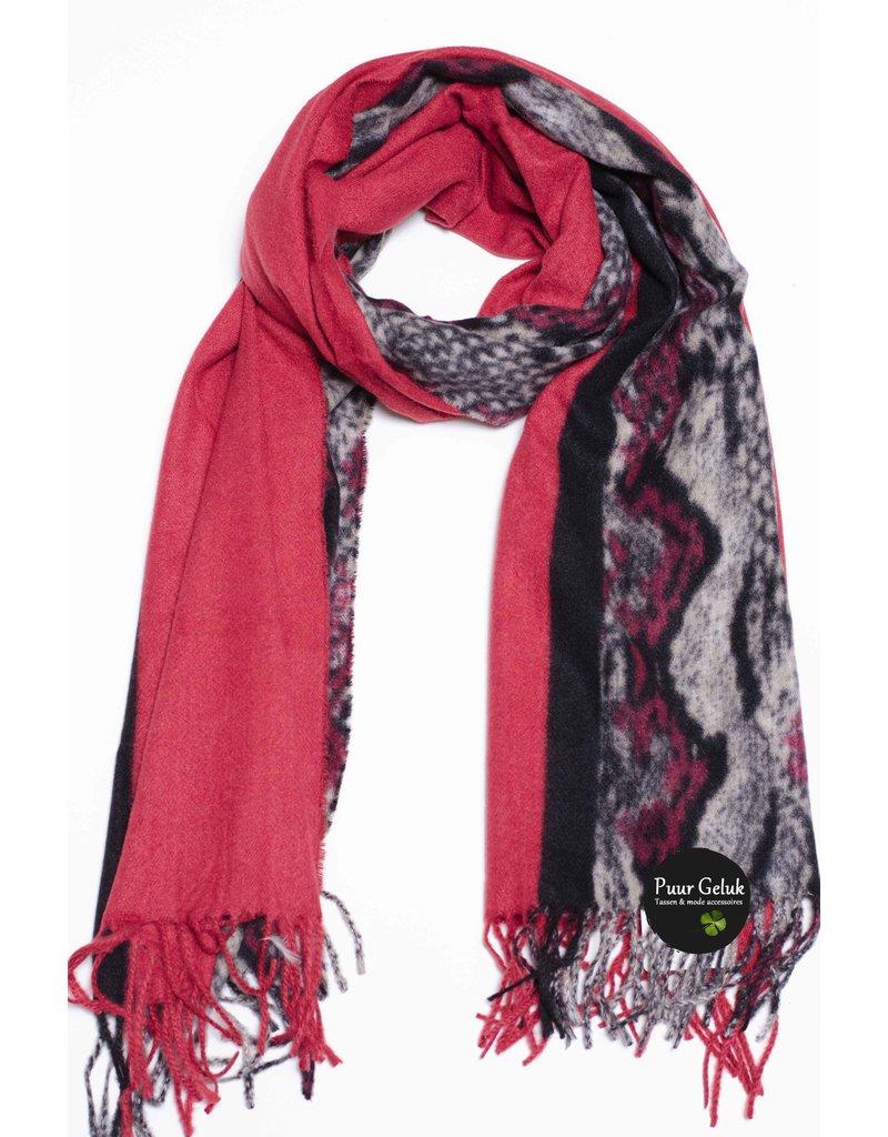 Overige Ultra zachte  sjaal in dierenprint, rood