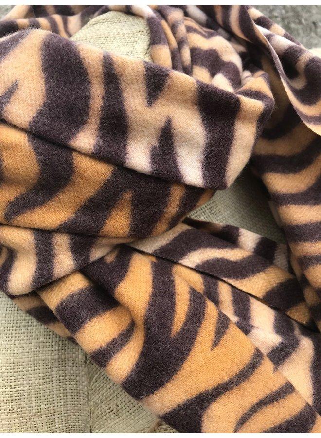 Ultra zachte okergele sjaal in zebraprint