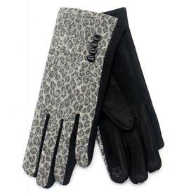 Overige Handschoenen dames, panter print grijs