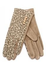 Overige Handschoenen dames, panter print taupe