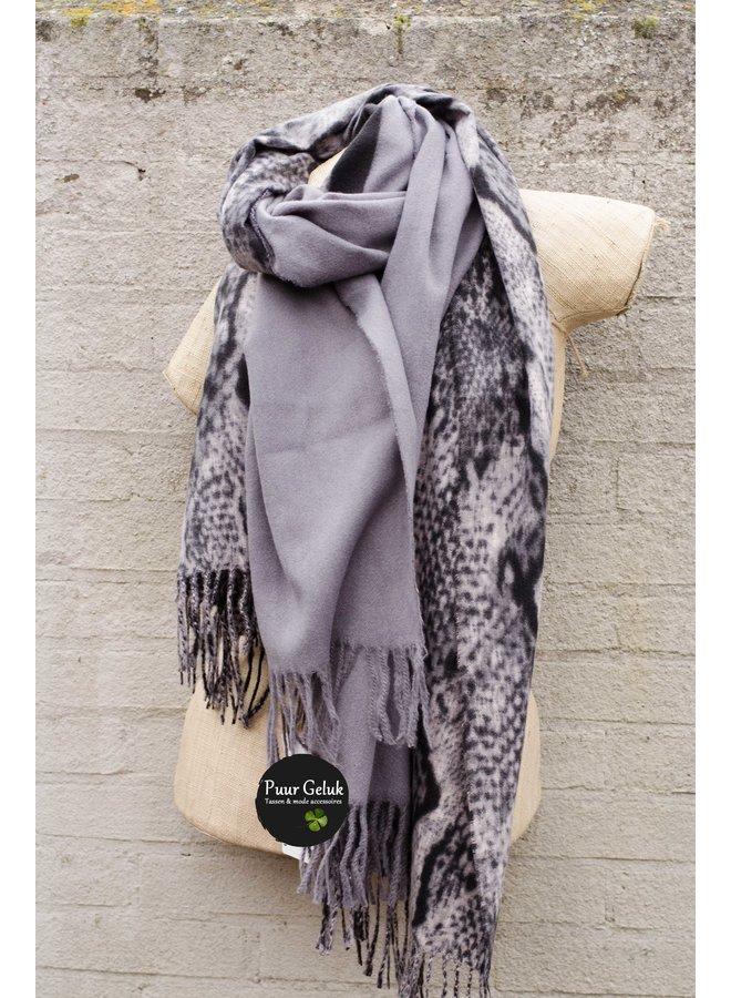 Ultra zachte  sjaal in dierenprint, grijs