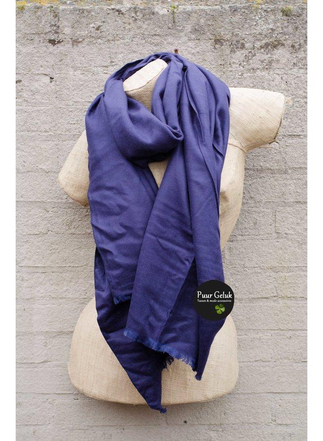 Dames sjaal effen, kobalt blauw