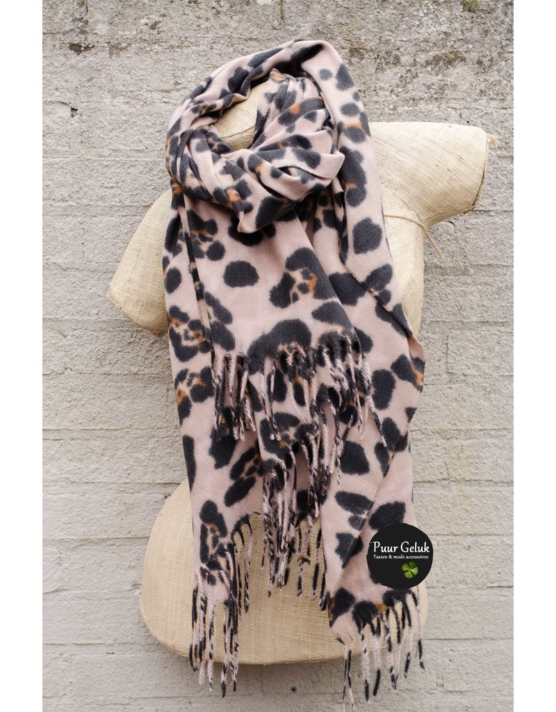 Overige Ultra zachte beige sjaal in dierenprint
