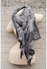 David & Alex Sjaal dames met barok print, grijs