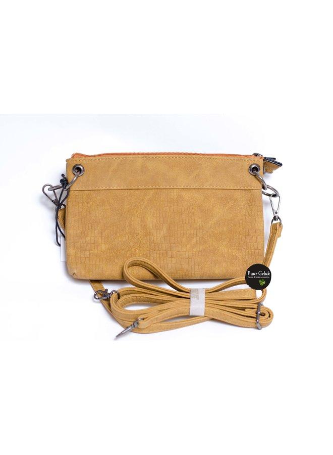 Mandoline kleine schoudertas, oker geel