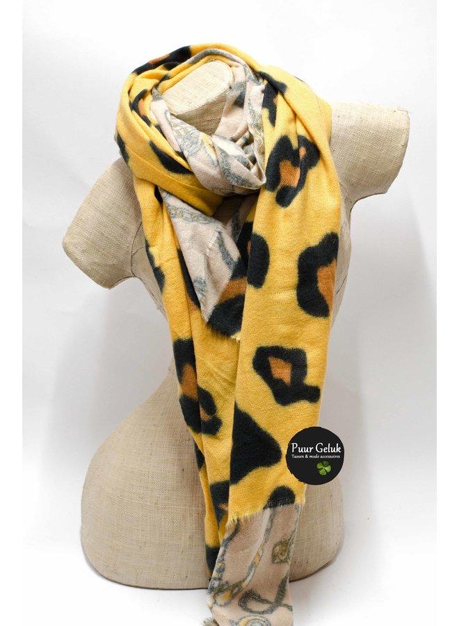 Ultra zachte okergele/zwarte dames sjaal in dierenprint