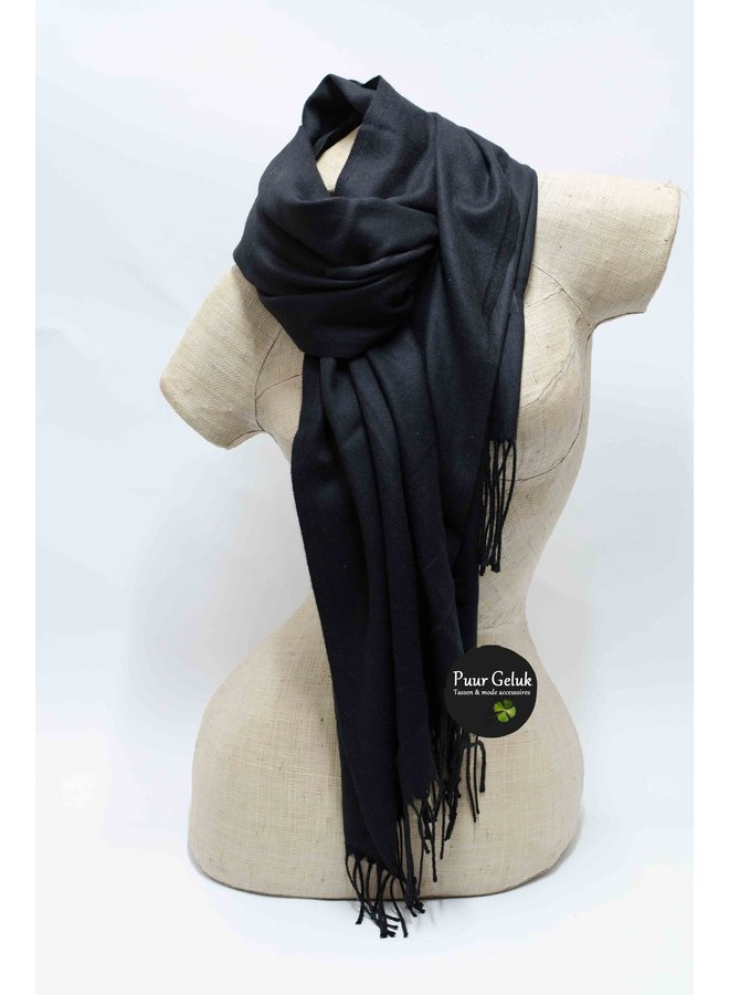 Zwarte dames sjaal effen