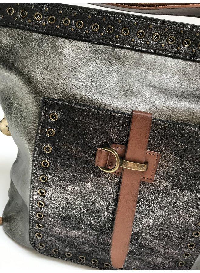 Mandoline tas met glitter, grijs