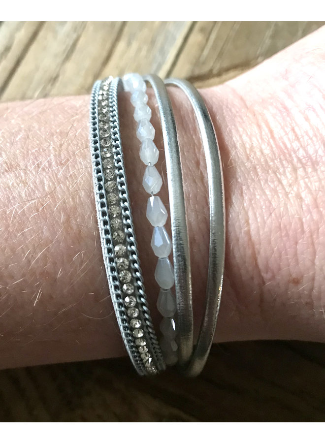 4 lijns armband, zilver