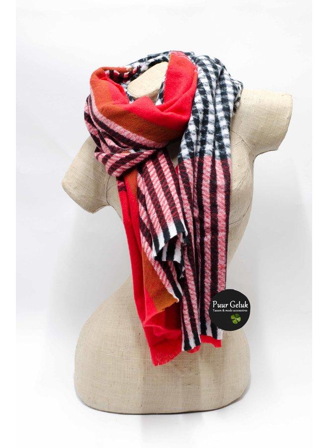 Ultra zachte rood/zwarte  ruit sjaal