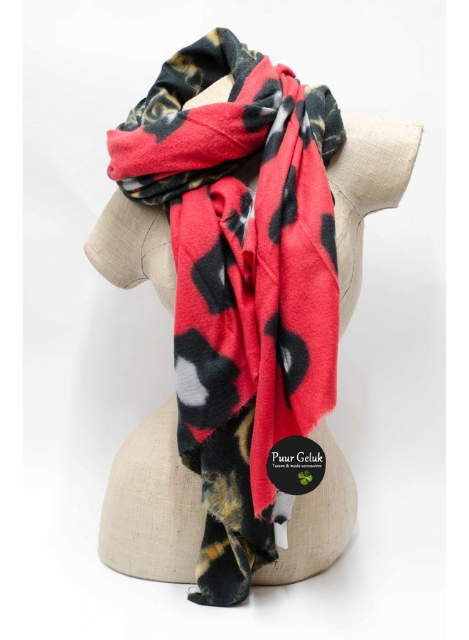Ultra zachte rood/zwarte sjaal in dierenprint