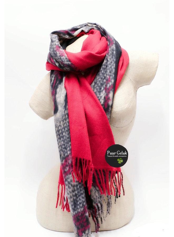 Ultra zachte  sjaal in dierenprint, rood