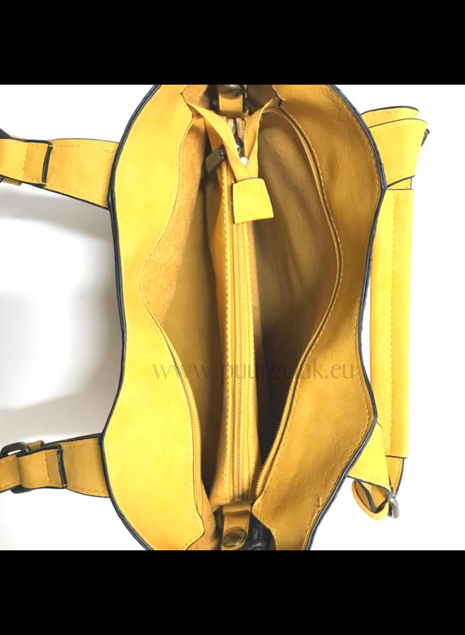 Mandoline tas bag in bag croco, geel