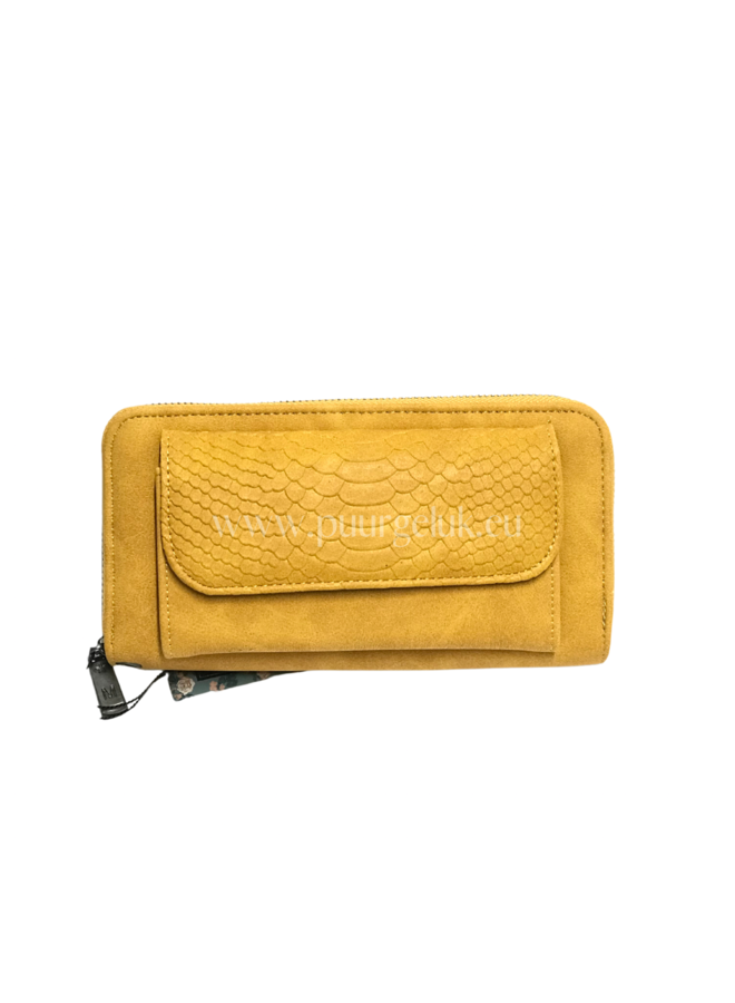 Mandoline croco portemonnee, geel