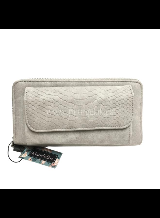 Mandoline croco portemonnee, grijs
