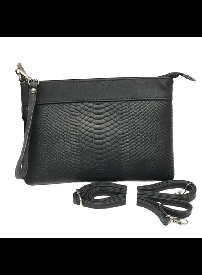 Mandoline schoudertasje crocoprint, zwart