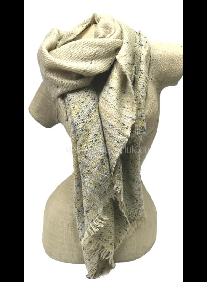 Zachte dames sjaal beige met geel