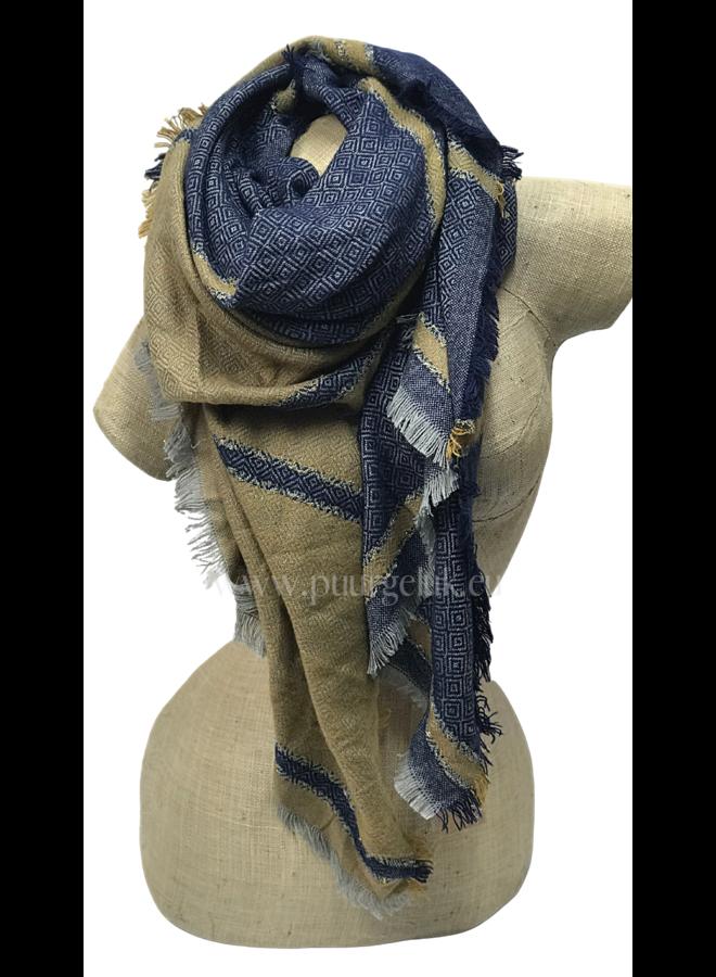 Dames sjaal blauw / geel