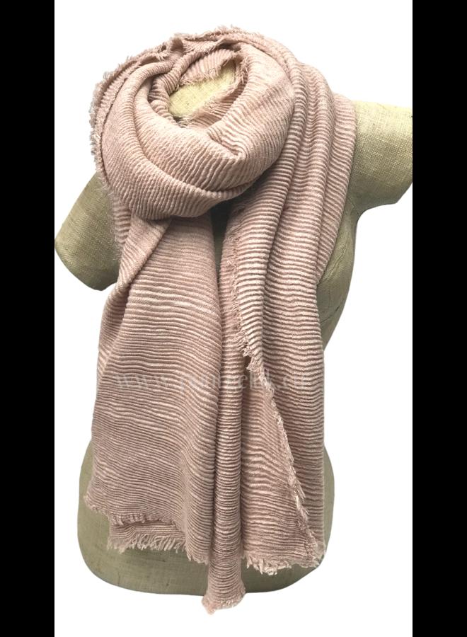 Dames sjaal effen streep, roze