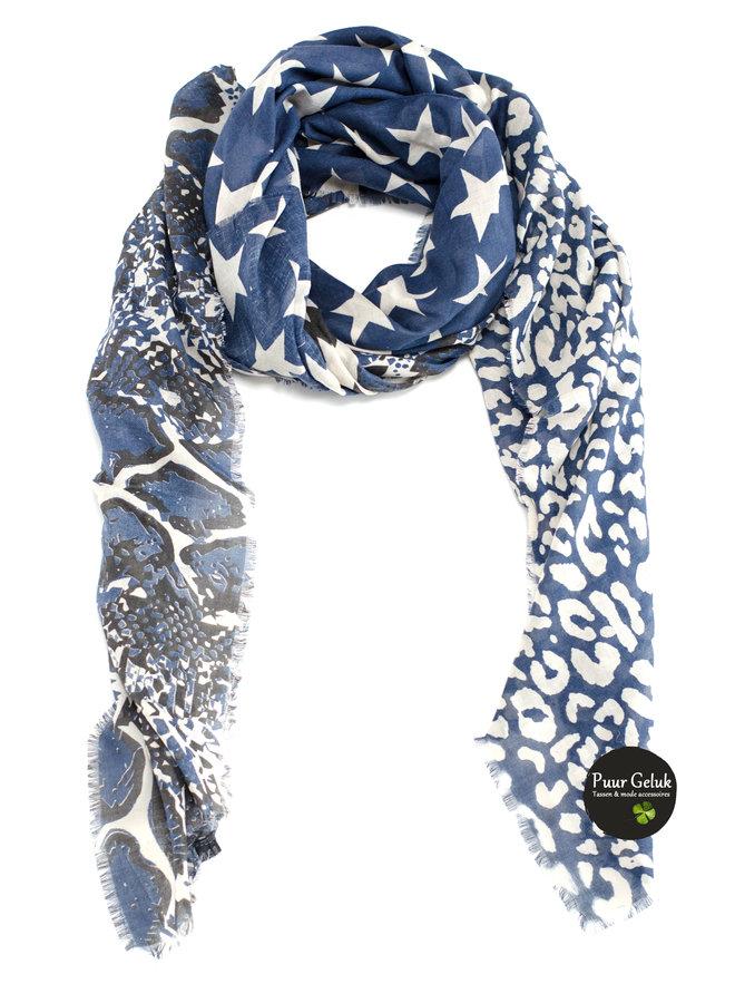 Dames sjaal blauw/zwart in dierenprint