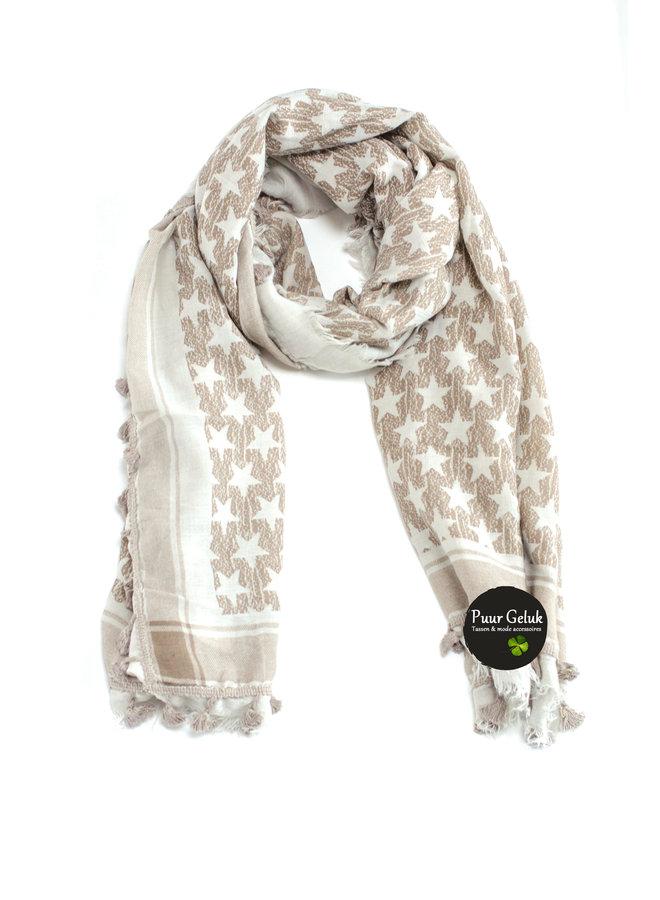 Dames sjaal met sterren, beige