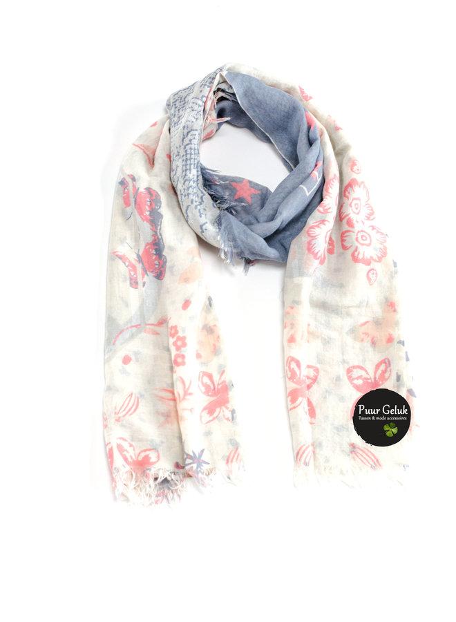 Dames sjaal met print, roze/blauw