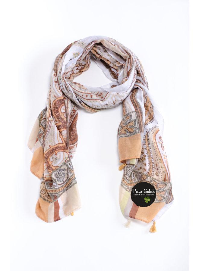 Dames sjaal met oranje/beige