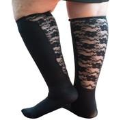 Xpandasox Sokken effen met kanten panel zwart