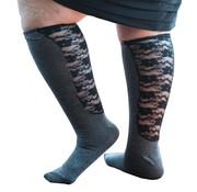 Xpandasox Sokken effen met kanten panel zwart / donkergrijs