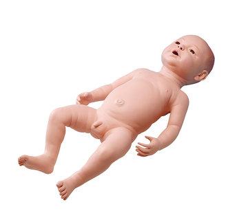 Baby-oefenpop pasgeboren jongetje met voelbare skeletdelen