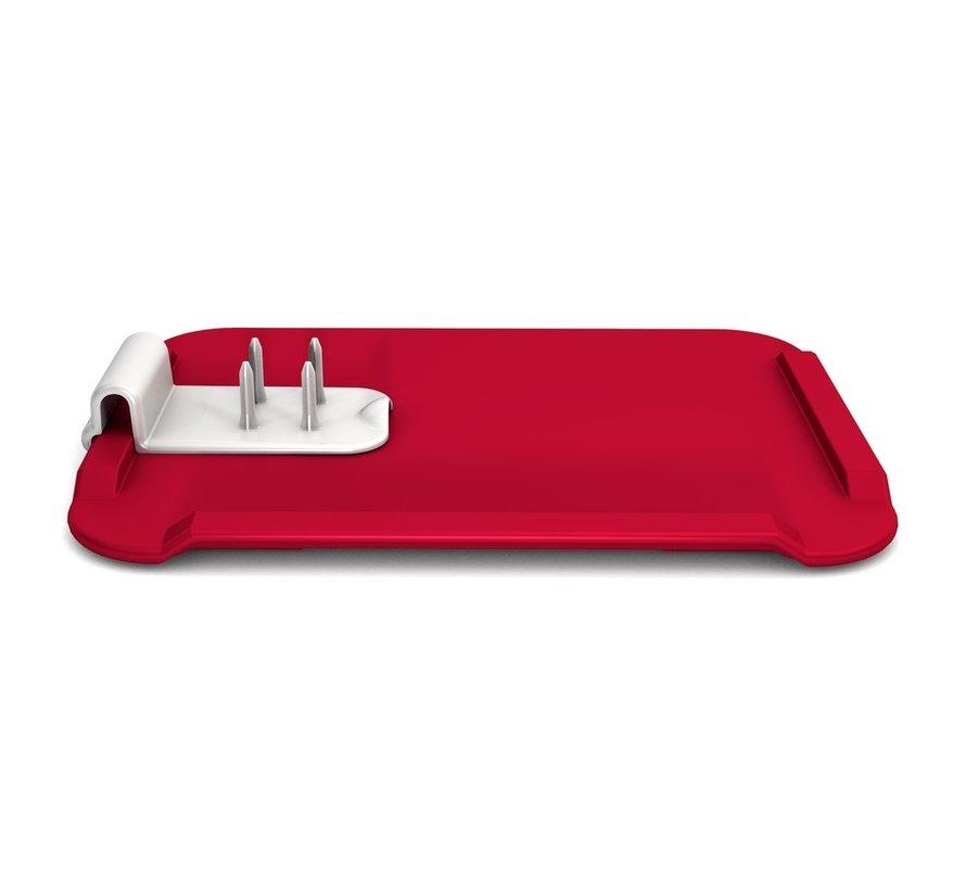 Clip met pinnetjes voor snijbord rood