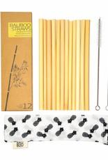 Bali Boo Bambus Strohhalme, 12er Pack inkl. 2 Reinigungsbürsten und 1 Ananas Baumwollbeutel