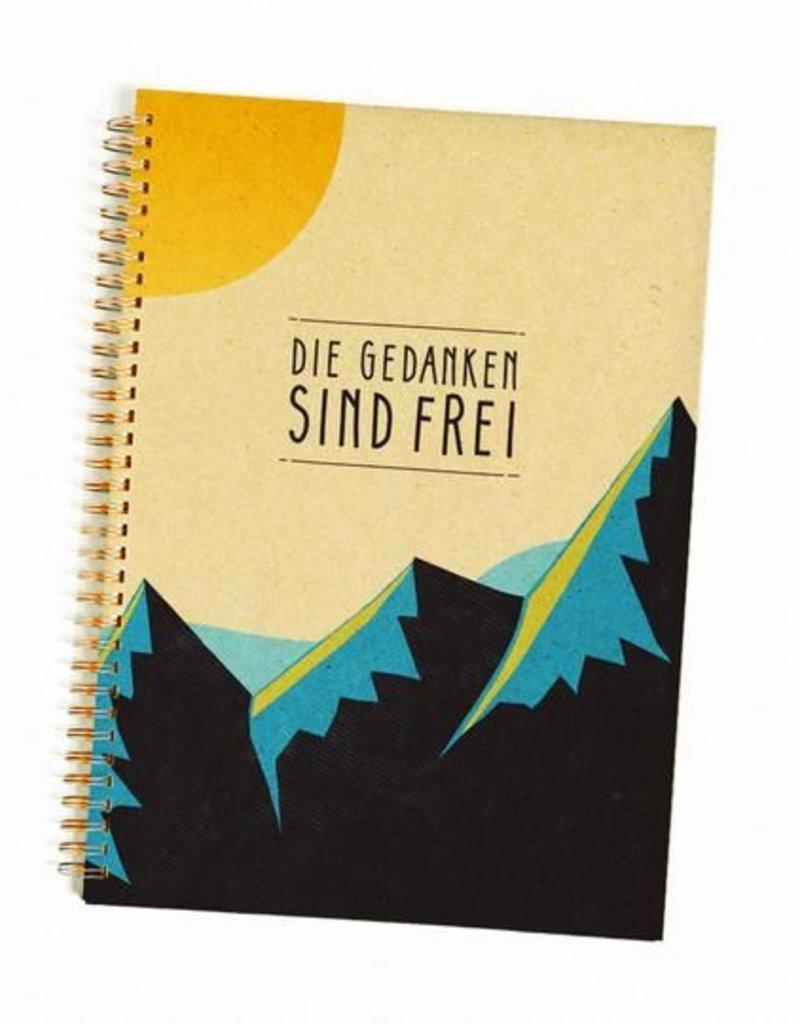 Saluti Notizbuch »Gedanken« aus Graspapier