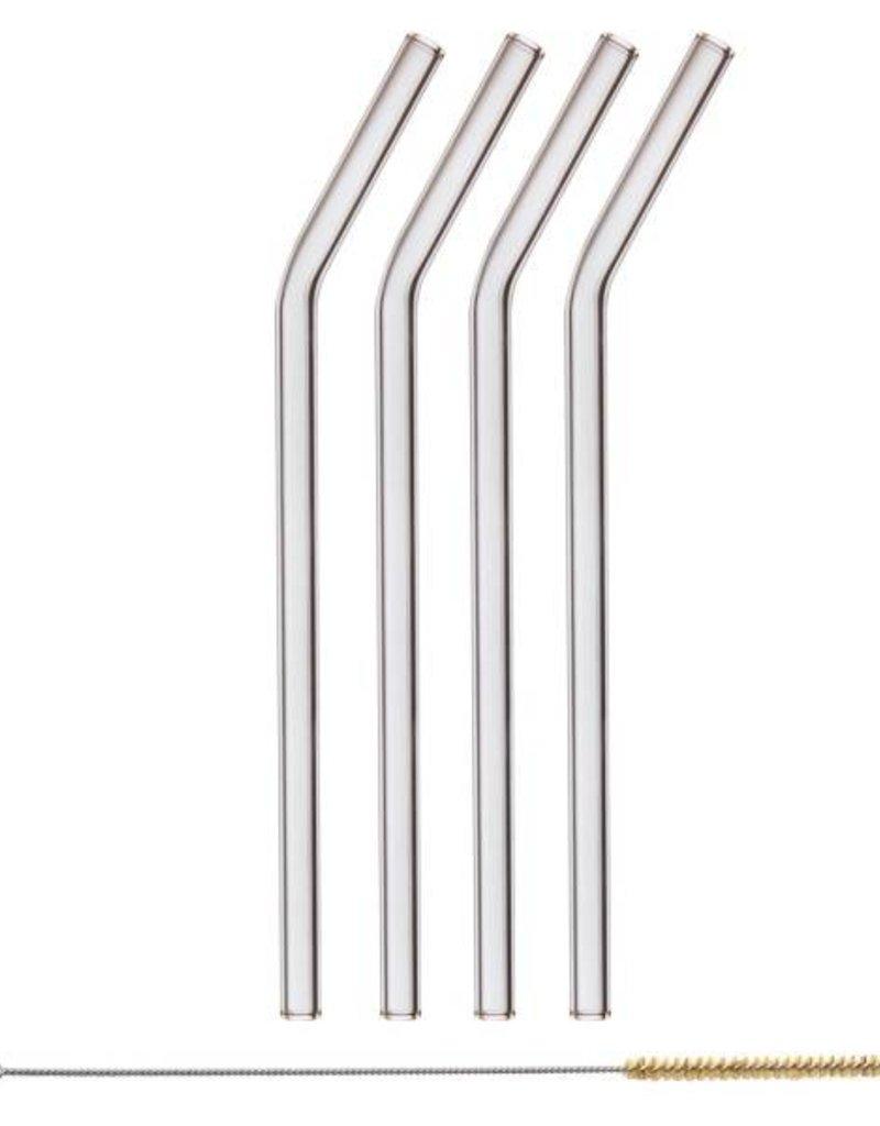 HALM Glasstrohhalme 4x 23cm (gebogen)  inkl. Reinigungsbürste