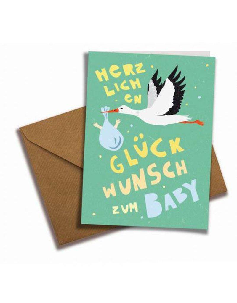 Saluti Klappkarte »Babyglück« mit Umschlag aus Recyclingpapier