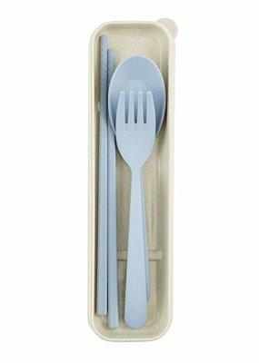 Weety Besteck-Set  aus Weizenfasern / blau
