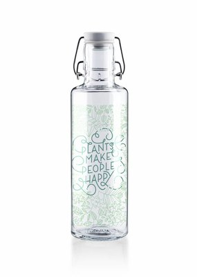 "soulbottles Glasflasche 0,6l ""Plants make people happy"""