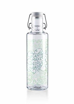 "soulbottles Glasflasche 0,6l ""Plants make people happy"""