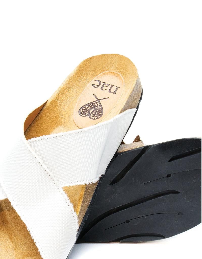 NAE Vegan Shoes Vegane Pantoletten Re-Car / weiss