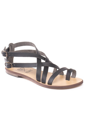 NAE Vegan Shoes Damensandalen Gladiator / schwarz