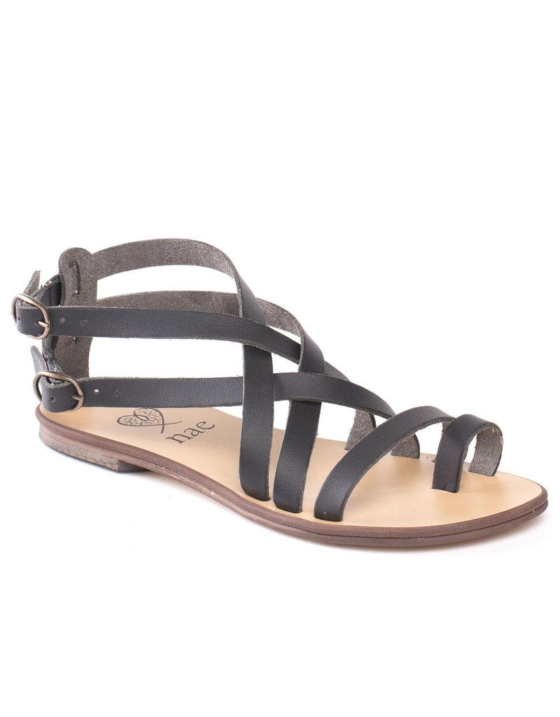 NAE Vegan Shoes Damensandalen Gladiator / schwarz