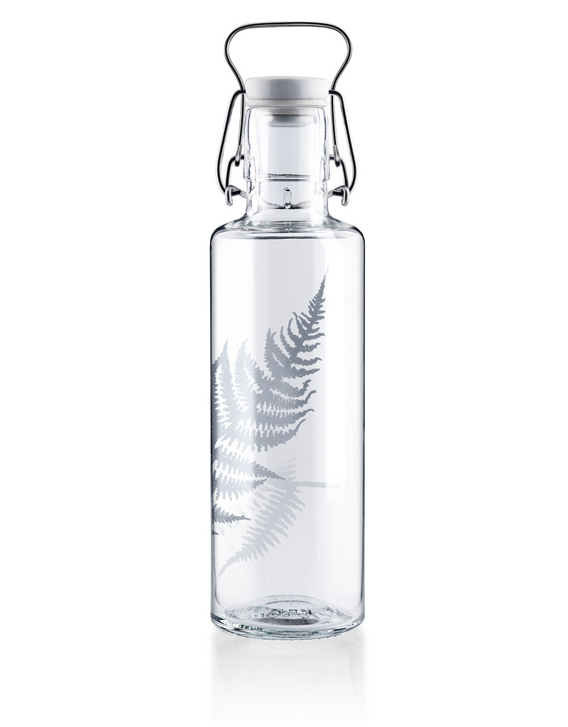"soulbottles Glasflasche 0,6l ""Silberfarn"""