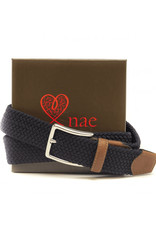 NAE Vegan Shoes Geflochtener Gürtel 3.5 cm / blau und braun