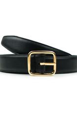 Will's Vegan Shoes Damengürtel mit goldener Schnalle / schwarz