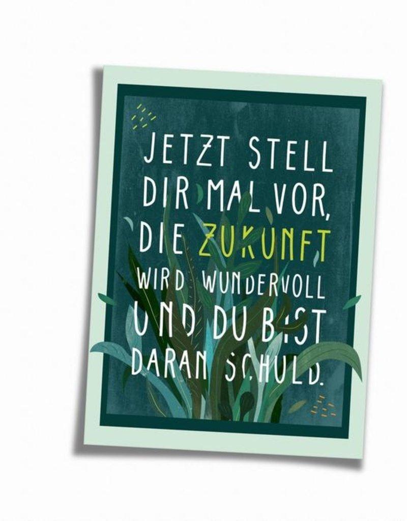Saluti Sustainable Greetings Postkarte »Stell dir vor« aus Recyclingpapier