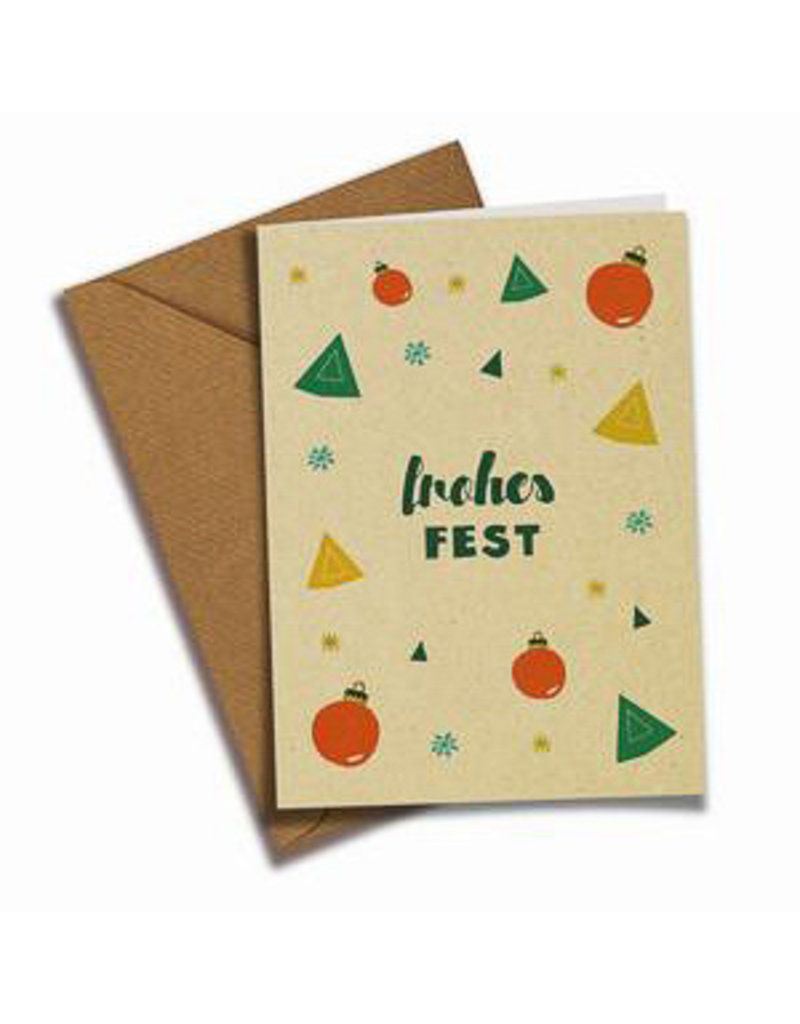 Saluti Sustainable Greetings Postkarte »Frohes Fest« aus Recyclingpapier