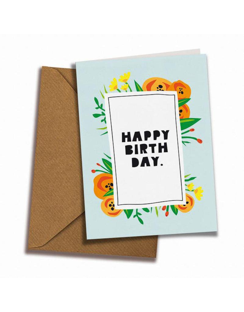 Saluti Sustainable Greetings Postkarte »Flowery Birthday« aus Recyclingpapier