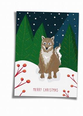 Saluti Sustainable Greetings Postkarte »Wolfy«