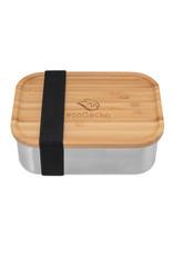 ecoGecko Brotdose aus Edelstahl mit Bambusdeckel, 800ml